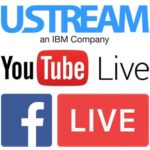 logos for Ustream, YouTube live and Facebook live